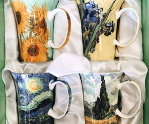 art, cup, and van gogh image