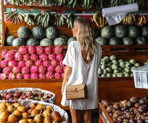 girl, fruit, and summer image