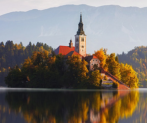 autumn, landscape, and water image