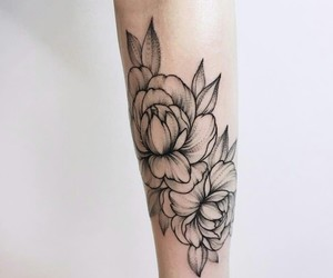 flower, ink, and peony image