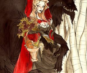 fairytale, red, and wolf image