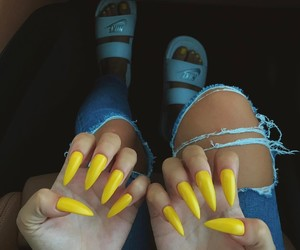 nails, yellow, and nike image