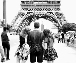 black and white, eiffel tower, and europe image