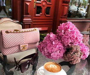 flowers, bag, and coffee image