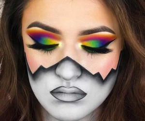 makeup, Halloween, and black and white image
