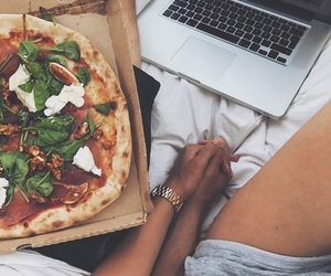 couple, pizza, and food image