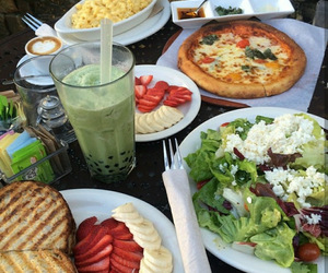 food, pizza, and fruit image