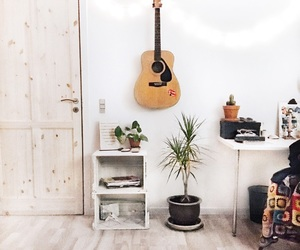 bedroom, decor, and guitar image