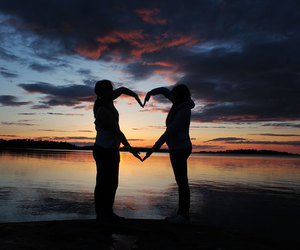 beautiful, heart, and sunset image