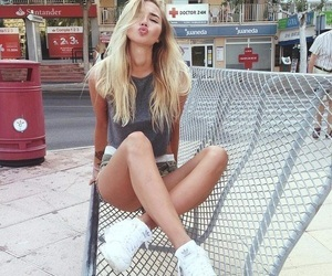 girl, blonde, and adidas image