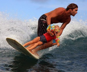surf, dad, and kids image