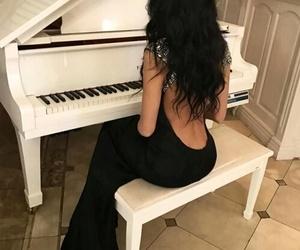 girl, piano, and beautiful image