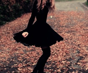 black, autumn, and dress image