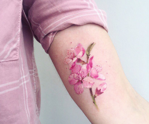 tattoo, arm, and flowers image