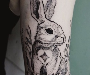 beautiful, bunny, and ink image