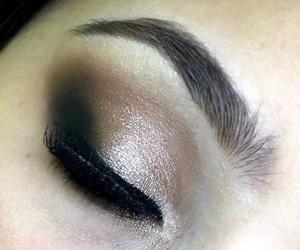 eyeliner, glitter, and gold image