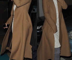 fashion, stylish, and brown coat image