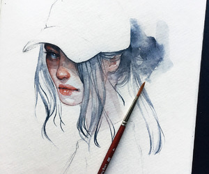 art, blue, and watercolor image