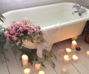 bath time, candles, and day image