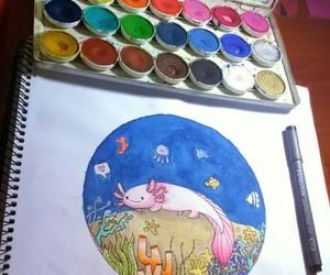 acuarela, axolotl, and dibujo image