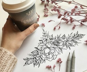 coffee, flower, and ink image