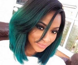 hair, green, and black image