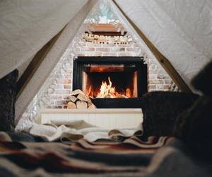 fire, winter, and home image