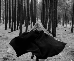 girl, forest, and black and white image