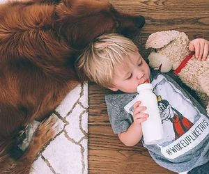 kids, dog, and baby image