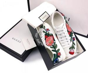 embroidery, gucci ace sneakers, and fashion image