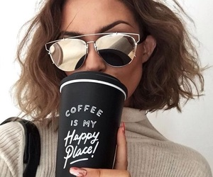 coffee, style, and sunglasses image