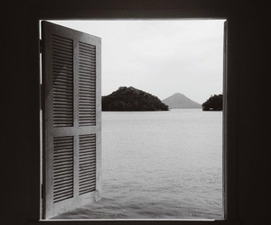 window, view, and black and white image