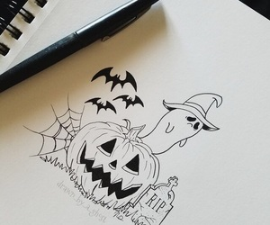 art, halloween art, and inktober image