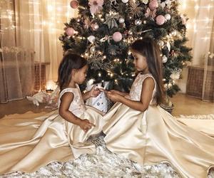 girl, baby, and christmas image