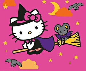 Halloween, hello kitty, and wallpaper image