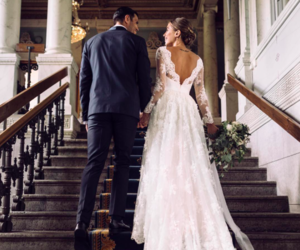 wedding, couple, and wedding dress image