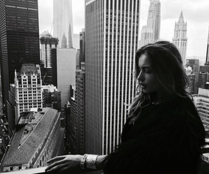 girl, black and white, and buildings image