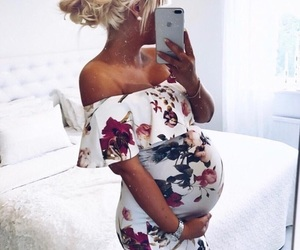 iphone, woman, and pregnat image