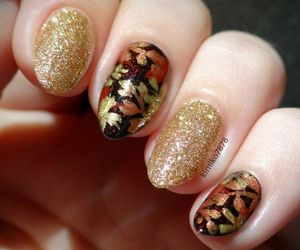 nails, autumn, and glitter image