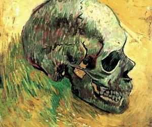 skull, van gogh, and art image