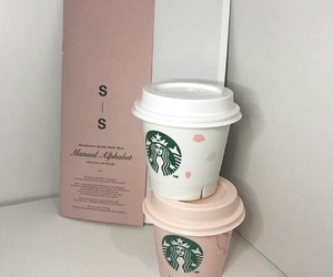 pink, aesthetic, and starbucks image