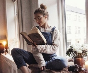 girl, book, and cozy image