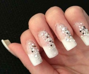 beauty, nail polish, and rhinestones image
