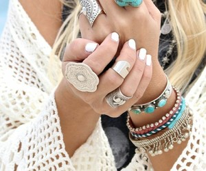 rings, bracelet, and boho image