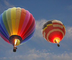 baloon, clouds, and colorful image