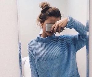sweater, blue, and bun image