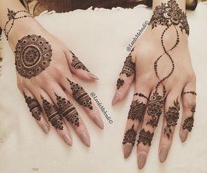 hand art, henna, and muslim bride image