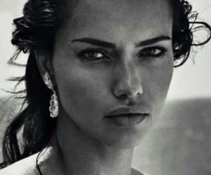 black and white, Adriana Lima, and model image