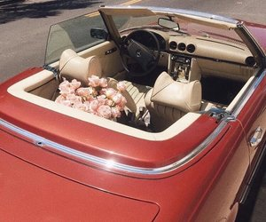 red, car, and flowers image