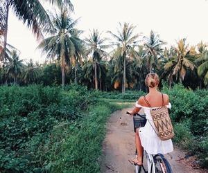 girl, bike, and travel image